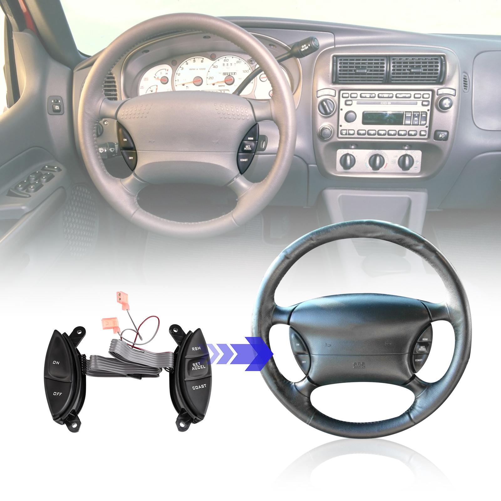 Steering Wheel Mount Cruise Control Switch Buttons For Ford F150 Mercury Mazda