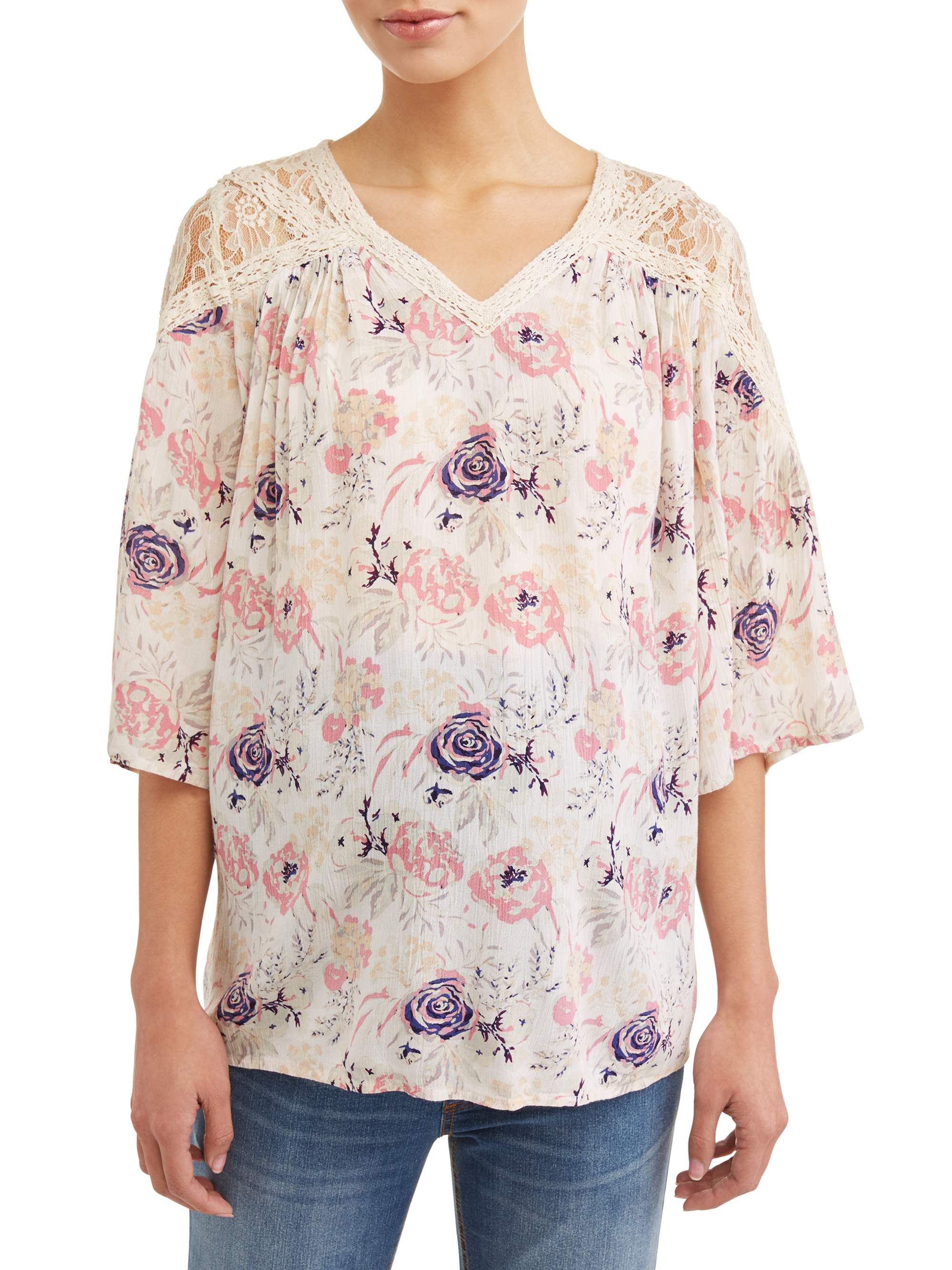 Maternity 3/4 Sleeve Boho Top W/Mesh & Crochet Details