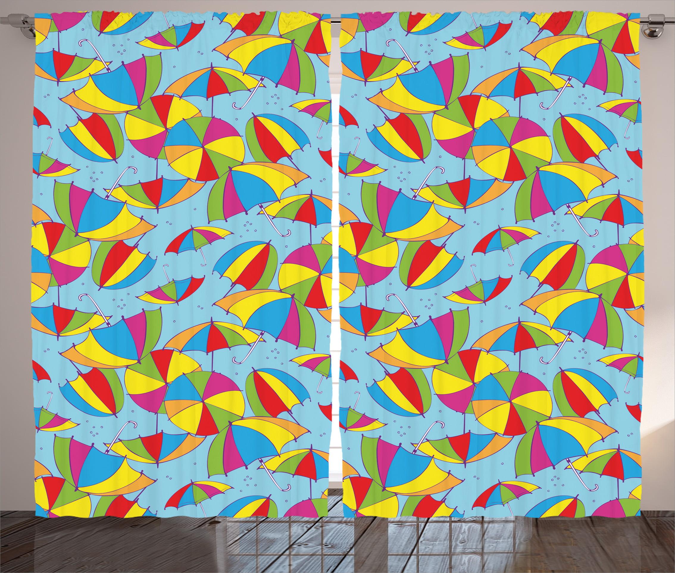 Apartment Decor Curtains 2 Panels Set, Cute Umbrellas in Rainbow Colors Romance Sun Shades Fall Protection Kid... by Kozmos