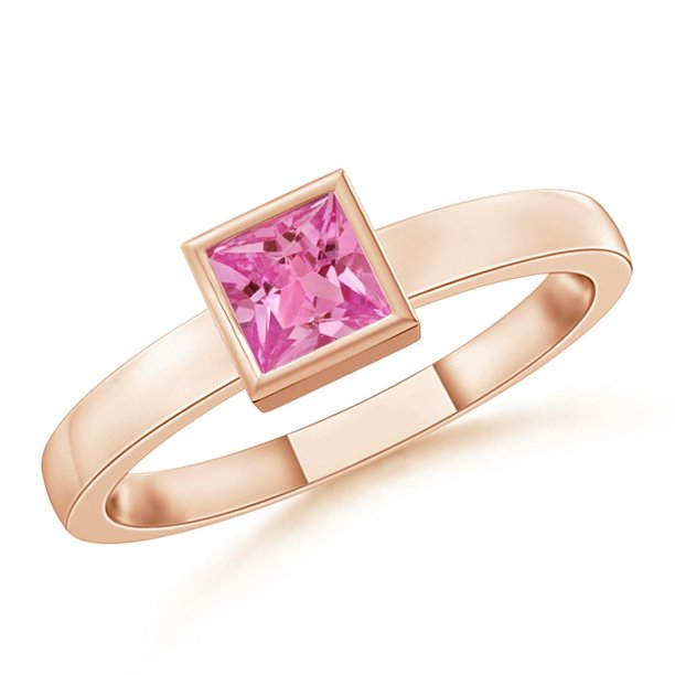 September Birthstone Ring - Bezel-Set Solitaire Square Pink Sapphire Stackable Ring in 14K Rose Gold (3mm Pink Sapphire) - SR0765PS-RG-AAAA-3-10.5