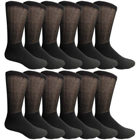 Yacht & Smith King Size Loose Fit Non-Binding Soft Cotton Diabetic Crew Socks, Bulk Value Pack - Breast Cancer Socks Bulk