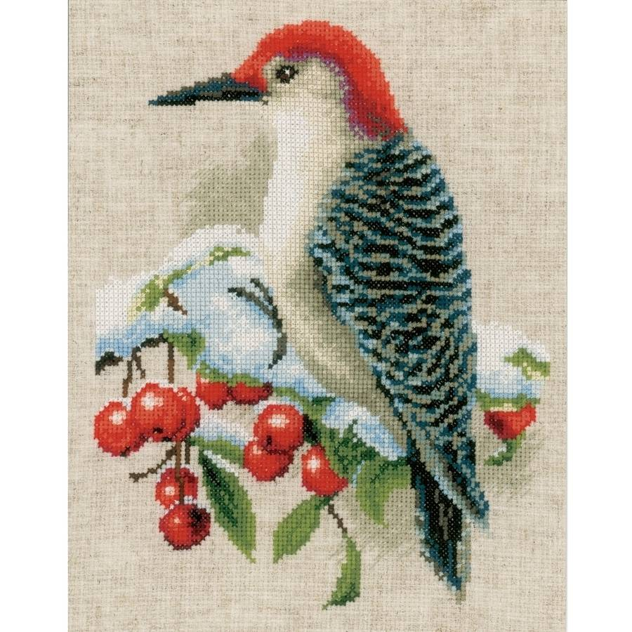 """Red Woodpecker On Aida Counted Cross Stitch Kit, 8"""" x 10"""", 14-Count"""