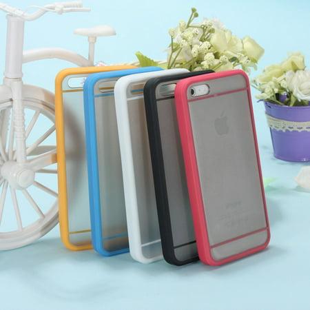 TPU Silicone Rubber Transparent Matte Case Cover Skin Phone Accessories For Phone 5 (Orange Transparent Body)