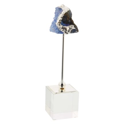 Decmode Glam 11 Inch Blue Geode Crystal Sculpture With An Iron And Glass Stand