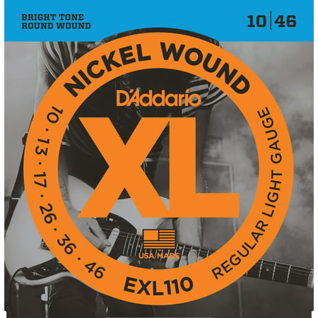 D'Addario EXL110 Nickel Wound Electric Guitar Strings, Regular Light, 10-46 ()