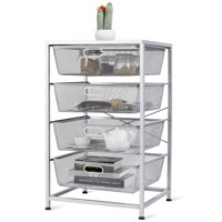 "GHP 19""x20.5x34"" Steel & Wood 4-Tier Mesh Slide-Out Drawers Storage Cart Organizer"
