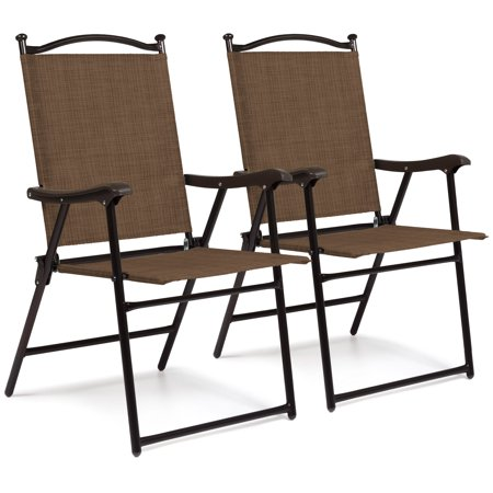 Best Choice Products Set of 2 Outdoor Mesh Fabric Portable Folding Sling Back Chairs for Backyard, Picnics, Beach, Camping, Patio, Porch, Garden, Pool w/ UV-Resistance - Brown ()
