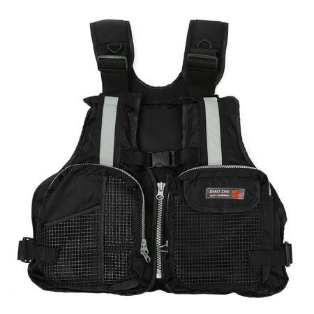 Adult Universal Breathable Fishing Life Jacket Boating Kayaking Floating Life Vest with Multi-Pockets and Reflective Stripe