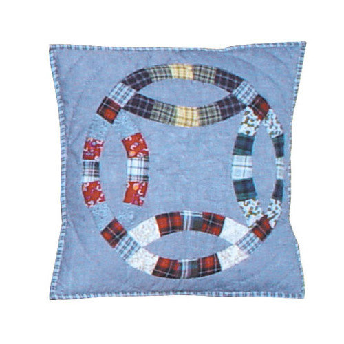 Patch Magic Denim Double Wedding Ring Cotton Throw Pillow