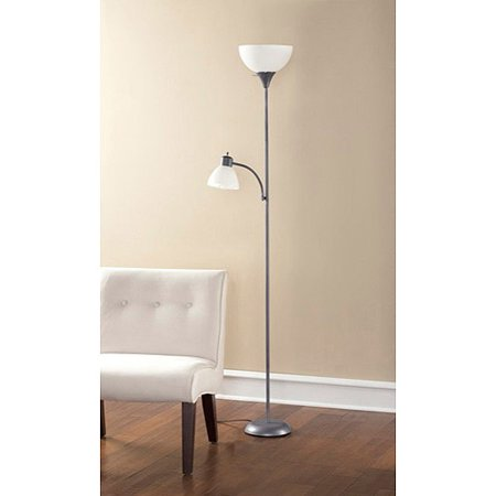 Mainstays ms btc combo floor lamp gy ca walmartcom for Pink floor reading lamp