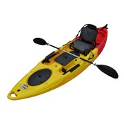 BKC RA220 11.6' Single Fishing Kayak  W/ Upright Back Support Aluminum Frame Seat,  Paddle, Rudder Included Solo Sit-On-Top Angler Kayak
