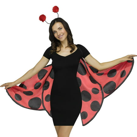 Fun World Halloween Spotted Ladybug Costume Wings, One Size, Red Black (Easy Ladybug Costume)