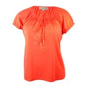 JM Collection Women's Embroidered Cotton Peasant Top