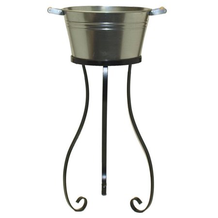 Houston International Trading 6183 Galvanized Beverage Tub with Iron Stand ()