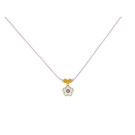 Pretty Cord - BecKids - Pretty Pink Enamel Flower Pink Cord Necklace - Gold Plated Silver