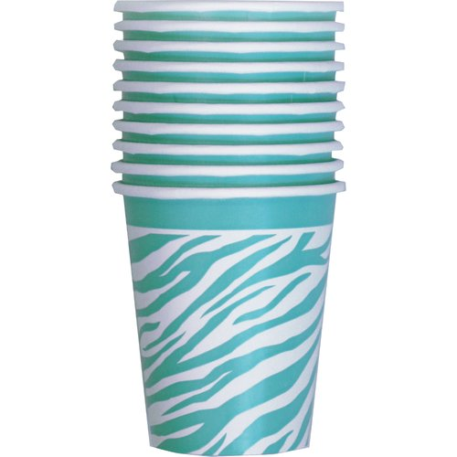 Unique Party Cup, 9 oz, Teal Zebra