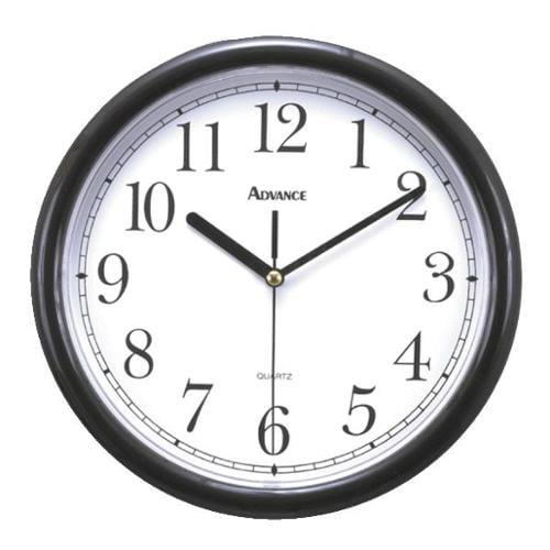 """Advance 10"""" Plastic Wall Clock, Black"""