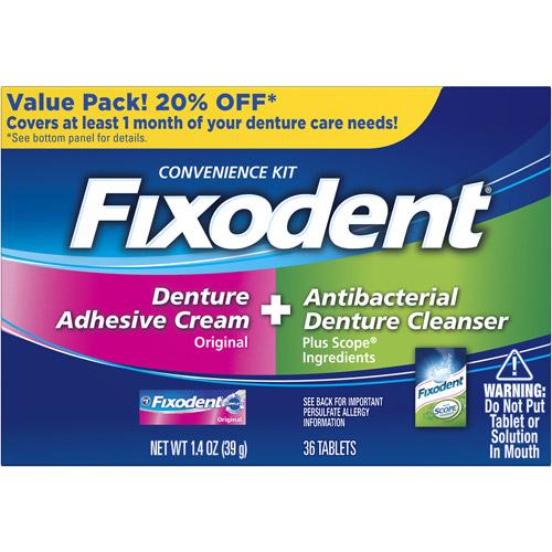 Fixodent Denture Adhesive Cream & Antibacterial Denture Cleanser Kit