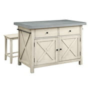 OSP Home Furnishings Nashville Kitchen Island with Cement Grey Top and 2 Stools