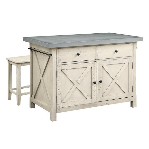 Osp Furniture Nashville Kitchen Island With Cement Grey Top And 2 Stools Walmart Com Walmart Com