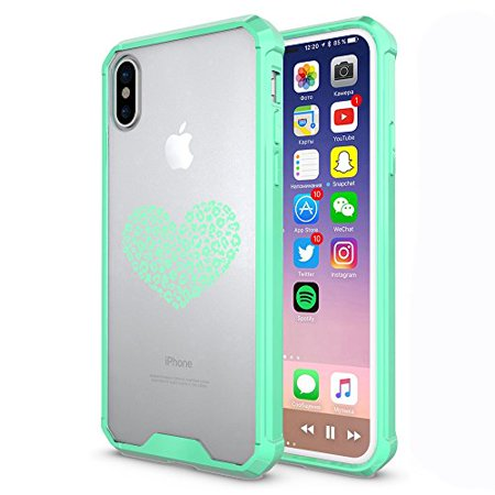 Mist Leopard - Clear Shockproof Bumper Case Hard Cover F0R Apple iPhone Leopard Print Love Heart (Mint, F0R Apple iPhone XR)