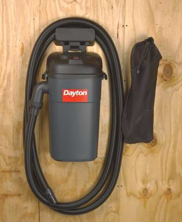 DAYTON Wet Dry Vacuum, Wall Mount, 5-Gal Plastic Tank, 5.5 Peak HP 13J021 by DAYTON