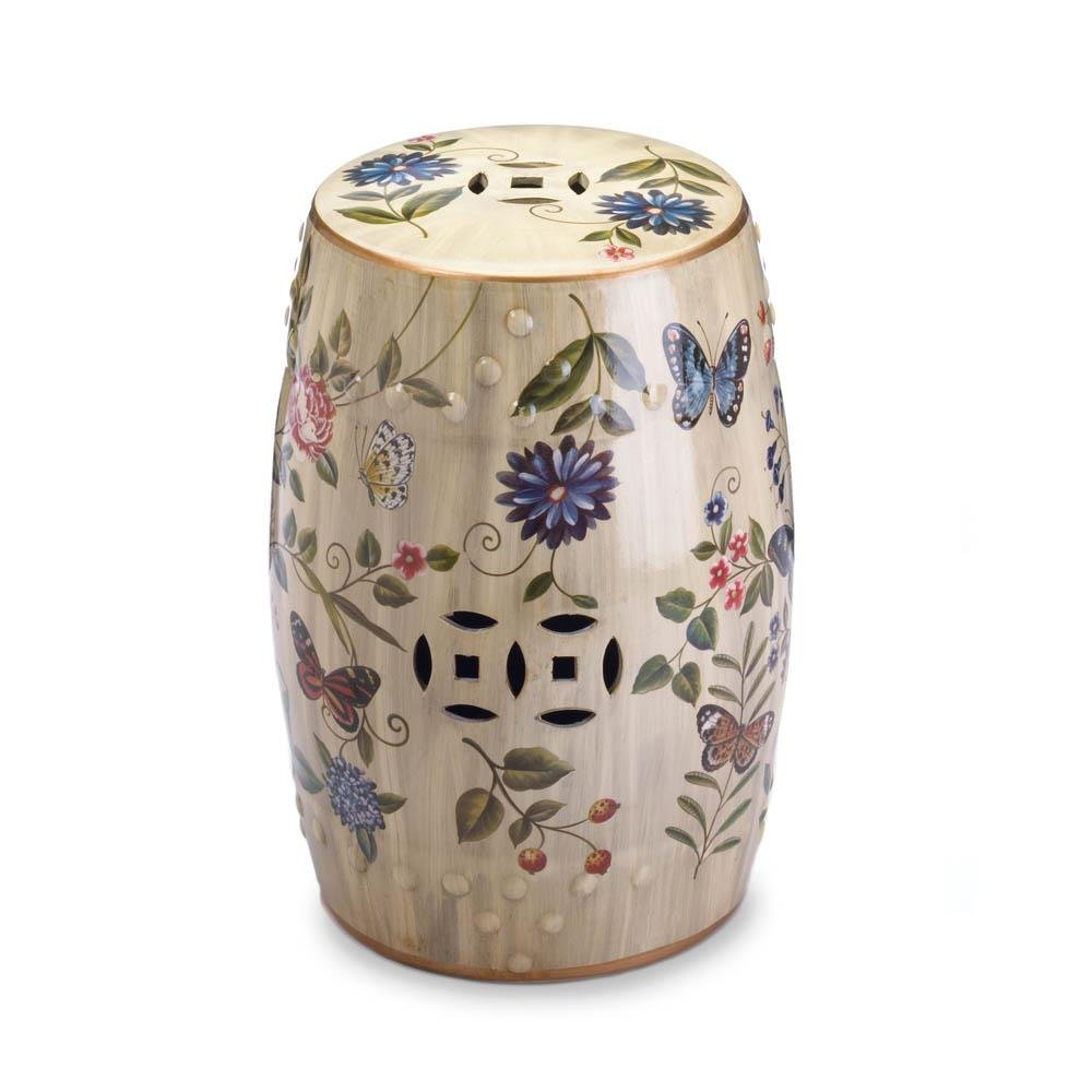 Butterfly Glazed Ceramic Outdoor Stool, Floral Decorative Cream Ceramic Stool