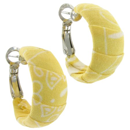 Coldwater Creek Yellow Ribbon Fabric Wrapped Hoop Earrings