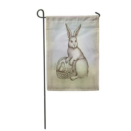 LADDKE Hare Easter Vintage Card Illustration of Bunny Rabbit Drawing Antique Garden Flag Decorative Flag House Banner 12x18