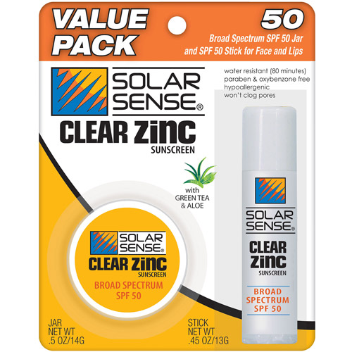 Solar Sense Clear Zinc Sunscreen, SPF 50, 2 pc, 0.95 oz