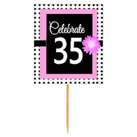 CakeSupplyShop Item#BPP-035 Happy 35th Birthday Pink w. Black Polka Dot Novelty Cupcake Decoration Topper Picks -12ct - Polka Dot Cake
