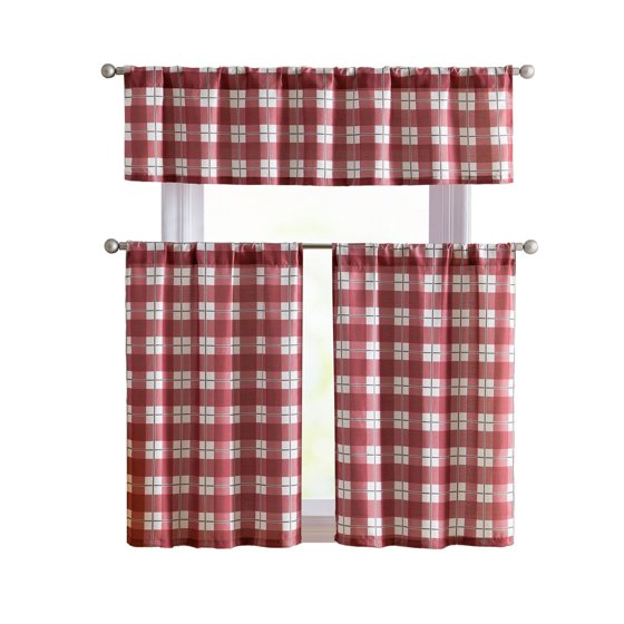 VCNY Plaid Declan 3 Pc. Kitchen Curtain Tier & Valance Set