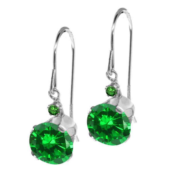 3.02 Ct Round Green Simulated Emerald Green Topaz 14K White Gold Earrings