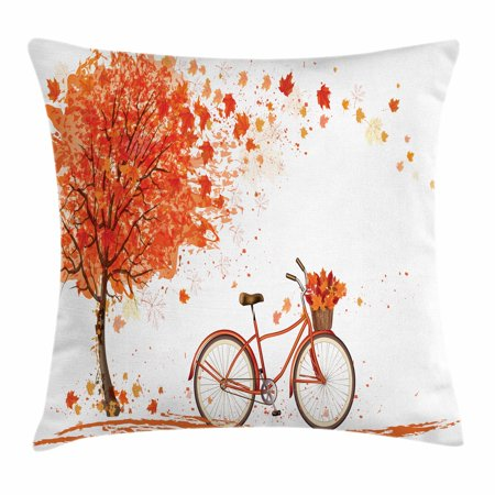 Autumn Throw Pillow Cushion Cover, Watercolor Fall Season Landscape with Leaves Flying in Breeze Bicycle, Decorative Square Accent Pillow Case, 24 X 24 Inches, Orange Brown and White, by Ambesonne