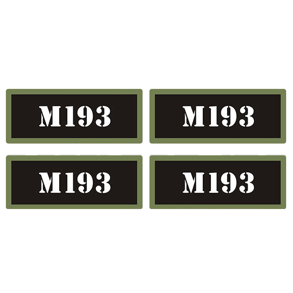 "M193 Ammo Can 4 Pack 3"" Black Sticker Gun Ammunition Box Case Decal"