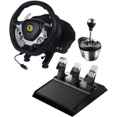 Thrustmaster 4469016 Xbox One/PC Ferrari 458 Italia Edition TX Racing Wheel, 4060059 TH8A Add-on Gearbox Shifter and 4060056 T3PA Wide 3-Pedal