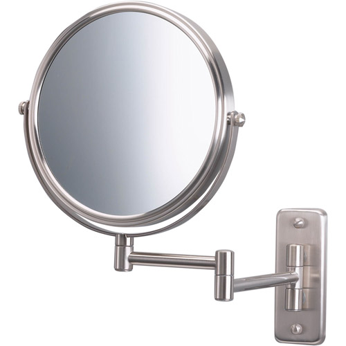 "Jerdon 8"" 2-Sided Swivel Wall Mount Mirror with 5x Magnification, 13.5"" Extension, Matte Nickel"