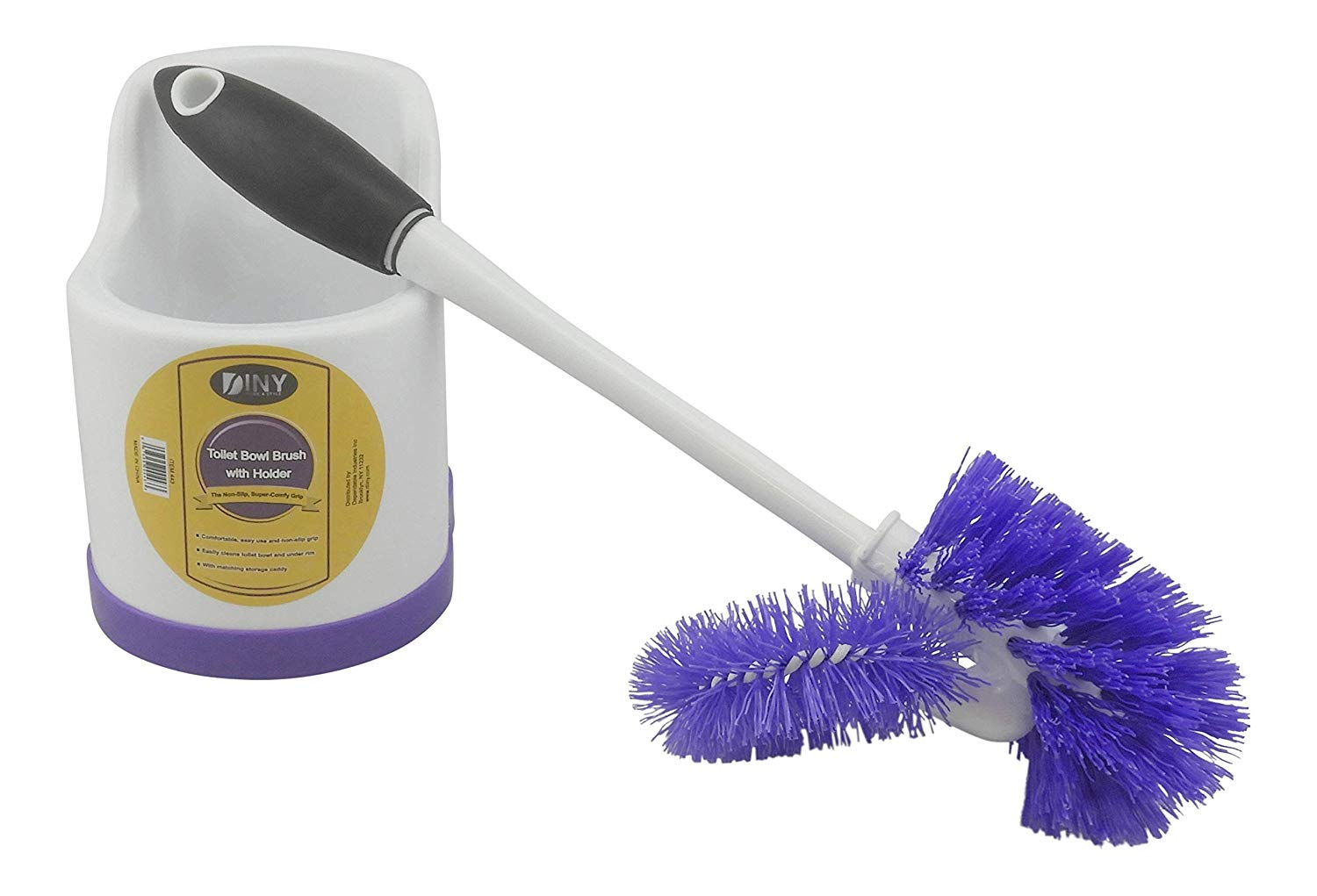 Plastic Toilet Bowl Under Rim Lip Brush and Holder Deep Cleaning Scrubbing Wand