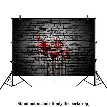 MOHome Polyster 7x5ft photography backdrop background vintage splatter dripping bloody blood brick wall dark horror scary halloween festival props photo studio booth (Scary Halloween Desktop Backgrounds)