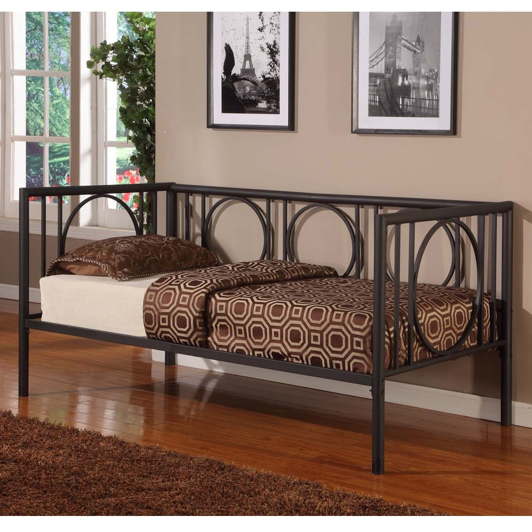 K and B Furniture Co Inc K&B DB001 Black Finish Day Bed