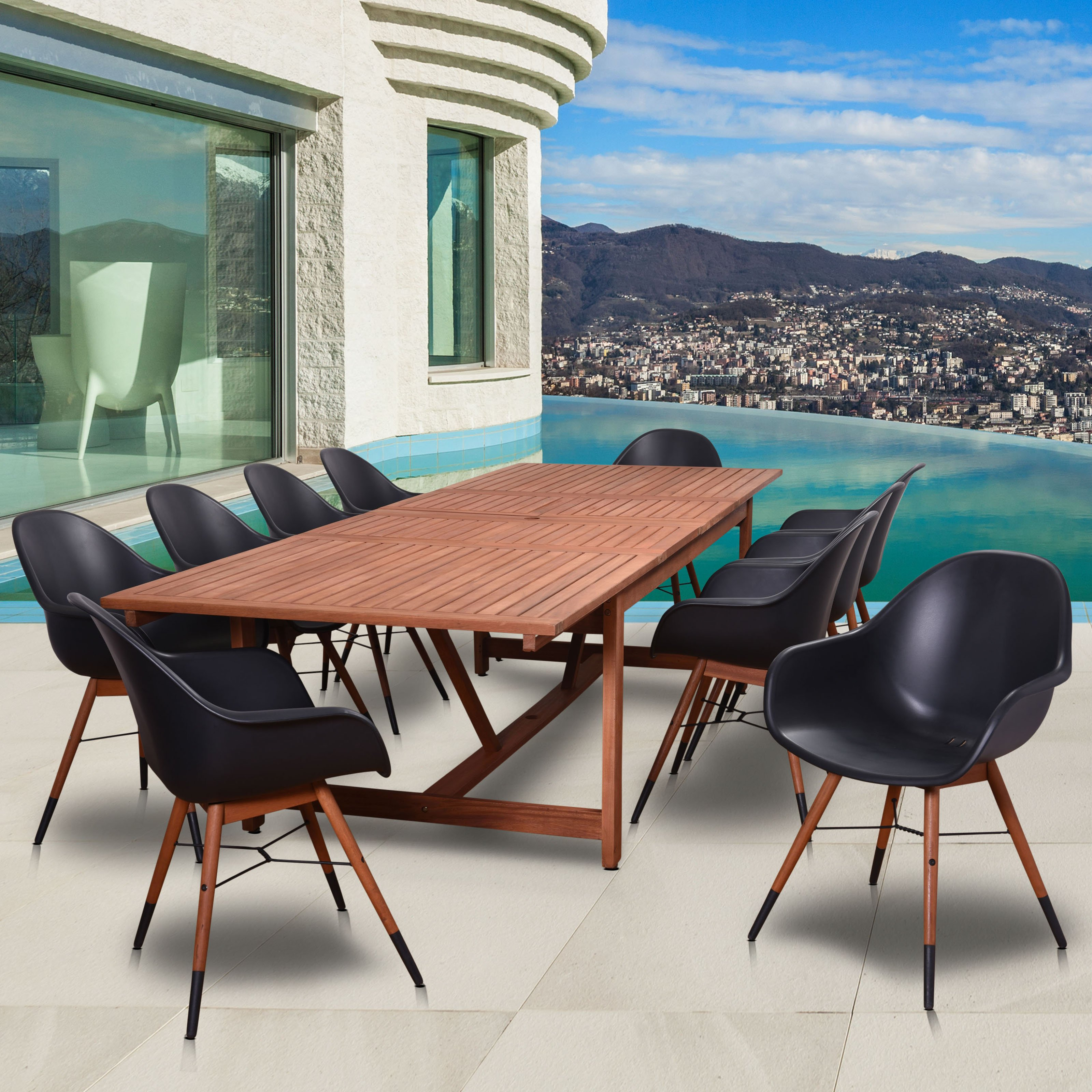 Amazonia Valli Wood 11 Piece Rectangular Patio Dining Set