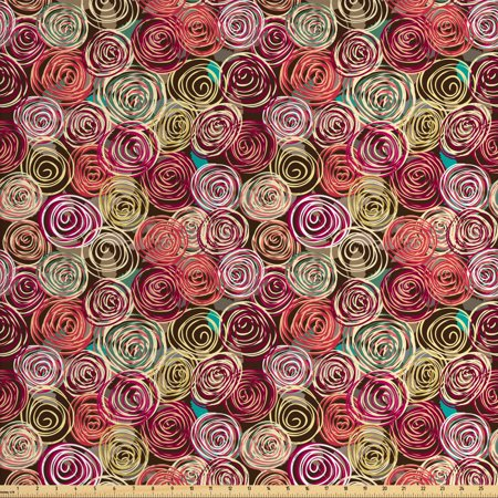 Abstract Fabric by The Yard, Floral Arrangement Vortex Shape Surreal Nature Scenes Rose Valentines Day Theme, Decorative Fabric for Upholstery and Home Accents, by Ambesonne