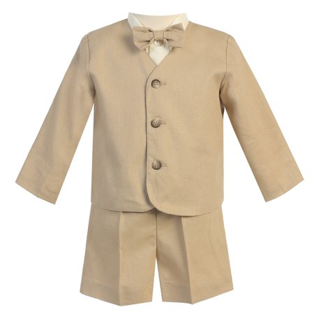 Baby Boys Khaki Eton Short Formal Ring Bearer Suit 12-18M (Ring Bearer Suit)