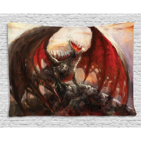 Fantasy World Decor Tapestry, Majestic Dragon Mountain Top Mythological Fire-Spewing Creature Spooky Decor, Wall Hanging for Bedroom Living Room Dorm Decor, 60W X 40L Inches, Multi, by