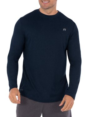 Russell Mens and Big Men's Active Performance Crew Neck Long Sleeve Shirt, up to Size 5XL
