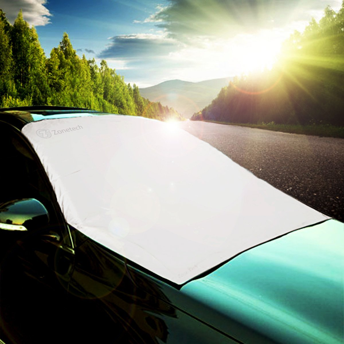 Zone Tech Car Windshield Reversible Cover Protector - All Weather Premium Quality Reversible Summer Sun Shield Protector