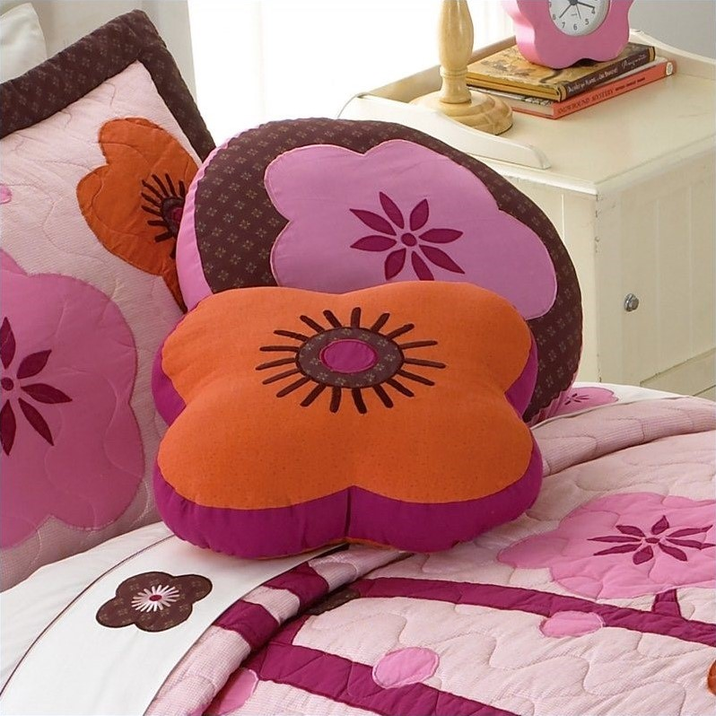 PEM America Flowers For Hanna Shaped Pillow in Pink and orange