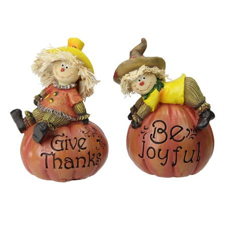 - Set of 2 Scarecrow on a Pumpkin Thanksgiving Table Figures