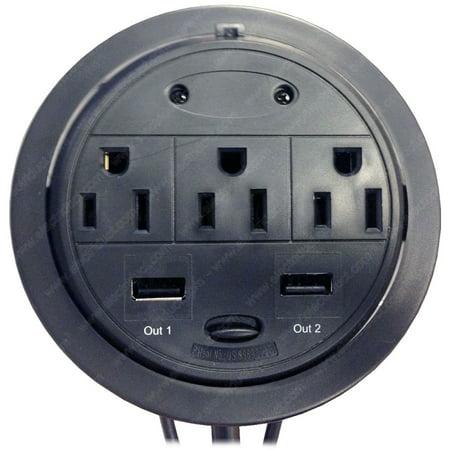 3 Power & 2 USB Power Tap Grommet - Desk Outlet Table - Hidden Power Center](Medford Outlet Center)