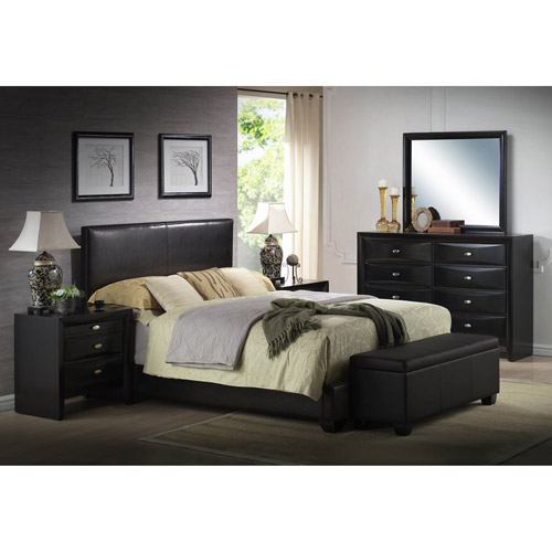 ireland king faux leather bed, black - walmart